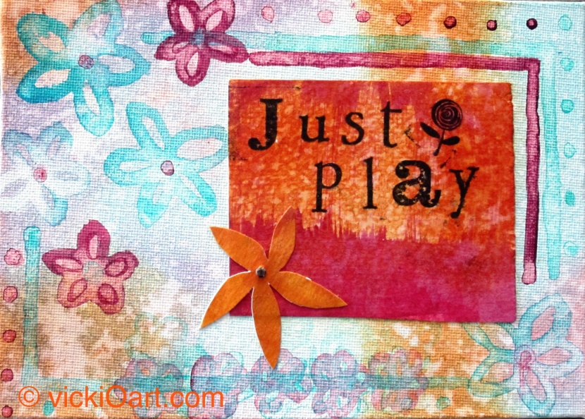 """just play"", ink and acrylic on 5x7 canvas board"